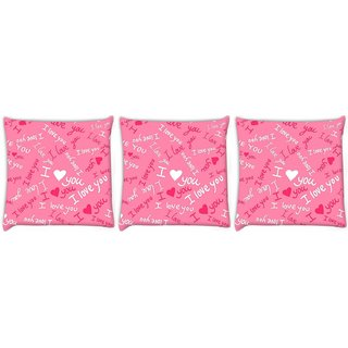Snoogg Pack Of 3 I Love You Pink Pattern 1 Digitally Printed Cushion Cover Pillow 12 x 12 Inch