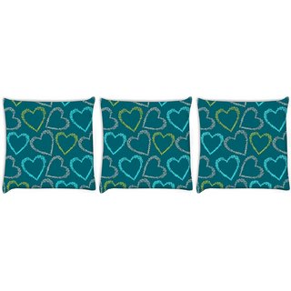 Snoogg Pack Of 3 Colorful Hearts Green Pattern Digitally Printed Cushion Cover Pillow 12 x 12 Inch