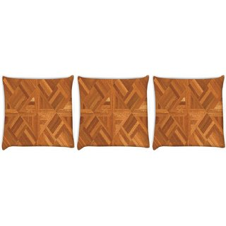 Snoogg Pack Of 3 Abstract Floor Matt Design Digitally Printed Cushion Cover Pillow 12 x 12 Inch