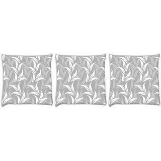 Snoogg Pack Of 3 White And Grey Leaves Digitally Printed Cushion Cover Pillow 12 x 12 Inch