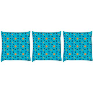 Snoogg Pack Of 3 Colorful Spots Blue Pattern Digitally Printed Cushion Cover Pillow 12 x 12 Inch
