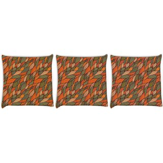 Snoogg Pack Of 3 Colorful Leaves Pattern Digitally Printed Cushion Cover Pillow 12 x 12 Inch