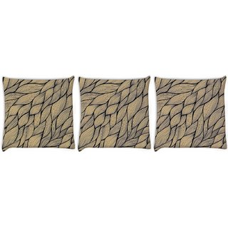 Snoogg Pack Of 3 Cream Leaves Pattern Digitally Printed Cushion Cover Pillow 12 x 12 Inch