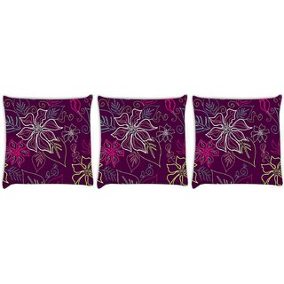 Snoogg Pack Of 3 Floral Sketch Pink Digitally Printed Cushion Cover Pillow 12 x 12 Inch