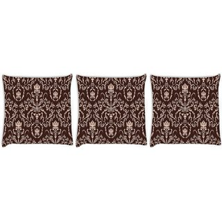 Snoogg Pack Of 3 Cream Pattern Digitally Printed Cushion Cover Pillow 12 x 12 Inch