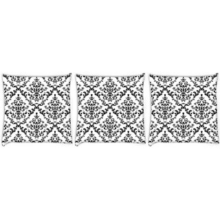 Snoogg Pack Of 3 Black Pattern Digitally Printed Cushion Cover Pillow 12 x 12 Inch