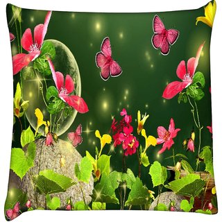 Snoogg fireflies and butterflies 2629  Digitally Printed Cushion Cover Pillow 12 x 12 Inch