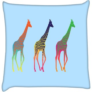 Snoogg neon giraffes 2666  Digitally Printed Cushion Cover Pillow 12 x 12 Inch