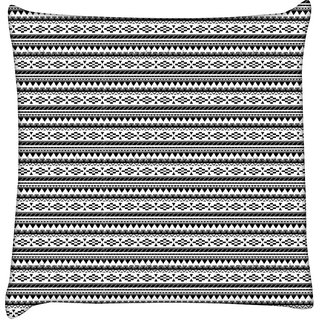 Snoogg  Aztec Black and White Digitally Printed Cushion Cover Pillow 12 x 12 Inch