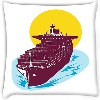 Snoogg  container cargo ship Digitally Printed Cushion Cover Pillow 12 x 12 Inch