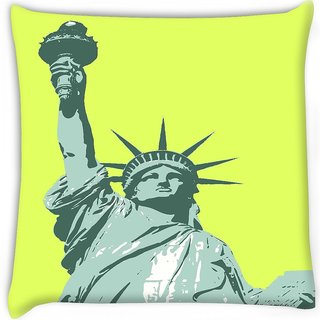 Snoogg  statue of liberty  Digitally Printed Cushion Cover Pillow 12 x 12 Inch
