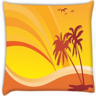 Snoogg  summer design with palm tree and rainbow background Digitally Printed Cushion Cover Pillow 12 x 12 Inch