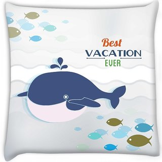 Snoogg  summer vector illustration with doodle fishes water sea whale Digitally Printed Cushion Cover Pillow 12 x 12 Inch