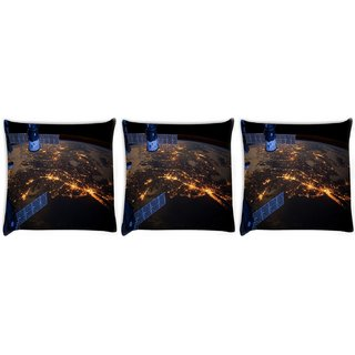 Snoogg Pack Of 3 Day And Night Digitally Printed Cushion Cover Pillow 12 x 12 Inch