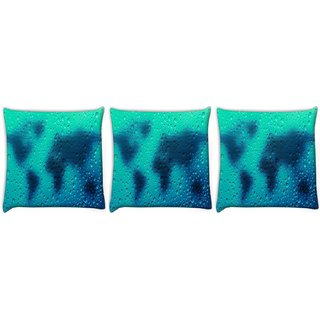 Snoogg Pack Of 3 Grey Dots On Map Digitally Printed Cushion Cover Pillow 12 x 12 Inch