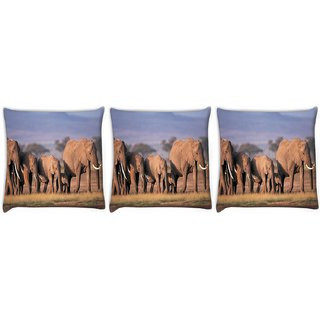 Snoogg Pack Of 3 Parental Elephant Digitally Printed Cushion Cover Pillow 12 x 12 Inch