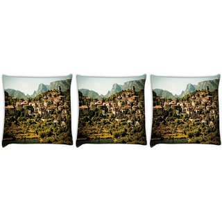 Snoogg Pack Of 3 Many Houses In A Series Digitally Printed Cushion Cover Pillow 12 x 12 Inch