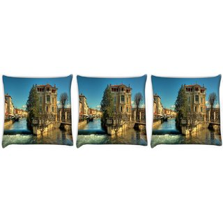 Snoogg Pack Of 3 Water And House Digitally Printed Cushion Cover Pillow 12 x 12 Inch