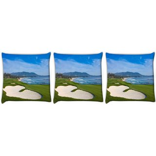Snoogg Pack Of 3 Patches In Golf Park Digitally Printed Cushion Cover Pillow 12 x 12 Inch