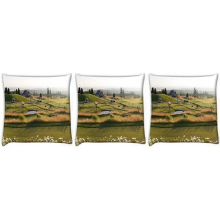 Snoogg Pack Of 3 People Playing Golf Digitally Printed Cushion Cover Pillow 12 x 12 Inch