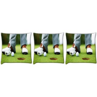 Snoogg Pack Of 3 Ball And Hole Digitally Printed Cushion Cover Pillow 12 x 12 Inch