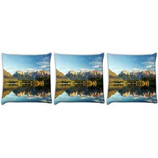 Snoogg Pack Of 3 Lake Side Mountain Digitally Printed Cushion Cover Pillow 12 x 12 Inch