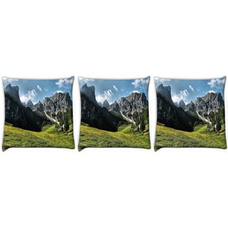 Snoogg Pack Of 3 Abstract Nature Digitally Printed Cushion Cover Pillow 12 x 12 Inch