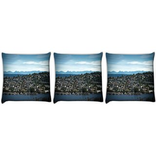 Snoogg Pack Of 3 Abstract City Digitally Printed Cushion Cover Pillow 12 x 12 Inch