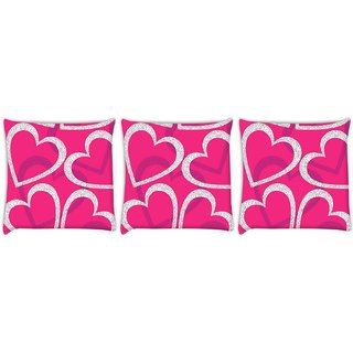 Snoogg Pack Of 3 White Hearts Digitally Printed Cushion Cover Pillow 12 x 12 Inch