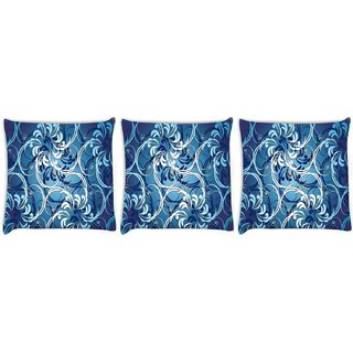 Snoogg Pack Of 3 Abstract Blue Pattern Digitally Printed Cushion Cover Pillow 12 x 12 Inch