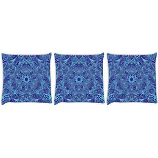 Snoogg Pack Of 3 Blue And Purple Digitally Printed Cushion Cover Pillow 12 x 12 Inch