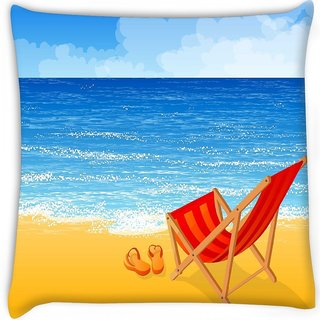 Snoogg  tropical beach vector background Digitally Printed Cushion Cover Pillow 12 x 12 Inch