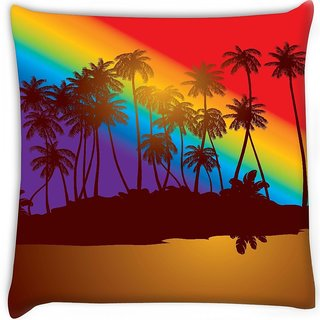 Snoogg  tropical sunset  Digitally Printed Cushion Cover Pillow 12 x 12 Inch