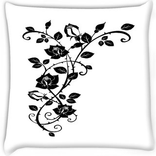 Snoogg  vector graphic of rose with leaves Digitally Printed Cushion Cover Pillow 12 x 12 Inch
