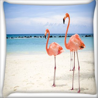 Snoogg Two Animals Digitally Printed Cushion Cover Pillow 12 x 12 Inch