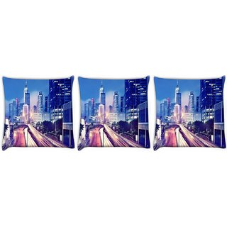 Snoogg Pack Of 3 Colorful Roads Digitally Printed Cushion Cover Pillow 12 x 12 Inch