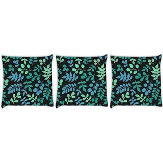 Snoogg Pack Of 3 Multicolor Leaves Digitally Printed Cushion Cover Pillow 12 x 12 Inch