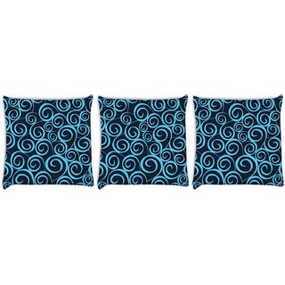Snoogg Pack Of 3 Blue Pattern Digitally Printed Cushion Cover Pillow 12 x 12 Inch