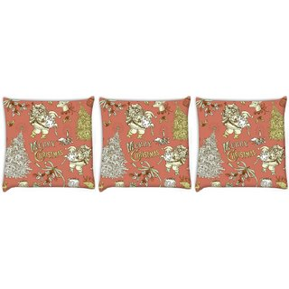 Snoogg Pack Of 3 Merry Christmas Red Digitally Printed Cushion Cover Pillow 12 x 12 Inch