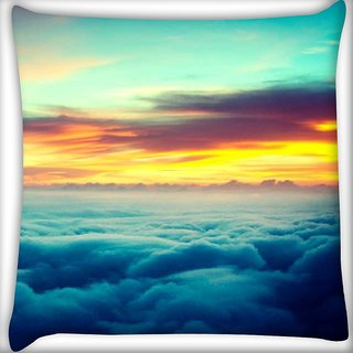 Snoogg Aerial sunrise epic Digitally Printed Cushion Cover Pillow 12 x 12 Inch