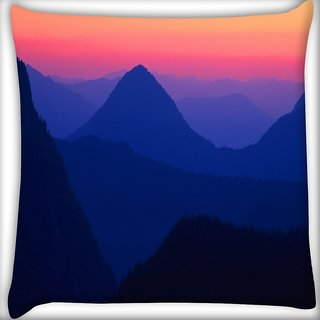Snoogg Mountain Nite View Digitally Printed Cushion Cover Pillow 12 x 12 Inch