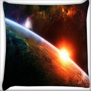 Snoogg A New Dawn By Burning Liquid Digitally Printed Cushion Cover Pillow 12 x 12 Inch