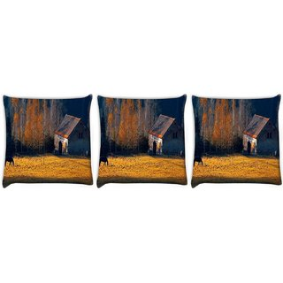 Snoogg Pack Of 3 Horse Shed Digitally Printed Cushion Cover Pillow 12 x 12 Inch