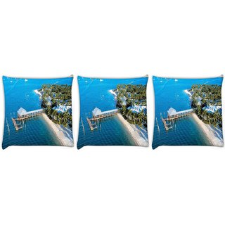 Snoogg Pack Of 3 Blue Beach Digitally Printed Cushion Cover Pillow 12 x 12 Inch