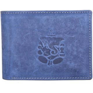 AJ Fashions Men Formal Denim Blue Genuine Leather Wallet  9 Card Slots