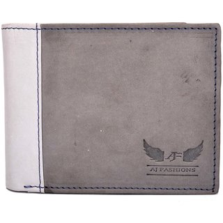 AJ Fashions Men Formal Metal Grey Genuine Leather Wallet  9 Card Slots