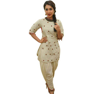 Surat Tex Cream Colored Cotton Embroidered Party Wear Semi-Stitched Salwar Suit-K39DL1589