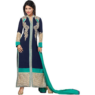 Surat Tex Blue  Turquoise Colored Georgette Embroidered Party Wear Semi-Stitched Salwar Suit-K43DL1600
