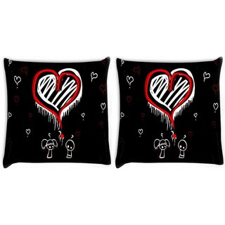 Snoogg Pack Of 2 World Best Love Digitally Printed Cushion Cover Pillow 14 x 14 Inch