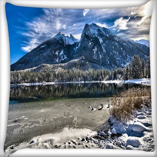 Snoogg White Stones Digitally Printed Cushion Cover Pillow 12 x 12 Inch